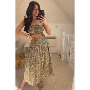 NWT Zara Blogger Fave Floral Smocked Midi Skirt.